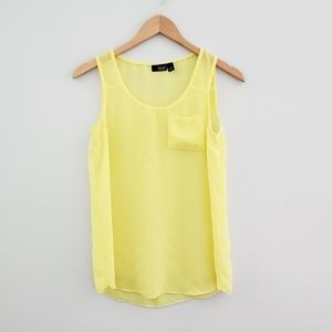 a.n.a. bright yellow sheer flowy tank top xsmall